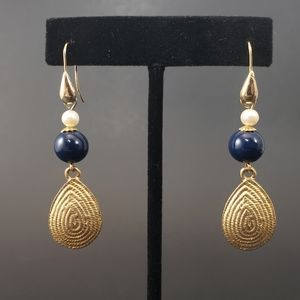 VINTAGE Gold and Navy Pierced Dangle Earrings